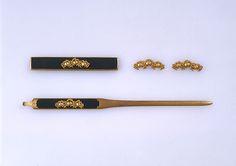 Set of Sword Fittings (Mitokoromono) --- Fittings maker: Gotō Sōjō (Japanese, ca. 1461–1538, second-generation Gotō master) --  Date: late 15th–early 16th century,  Medium: Copper-gold alloy (shakudō), gold