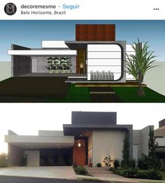 Discover recipes, home ideas, style inspiration and other ideas to try. House Front Design, Modern House Design, Residential Architecture, Modern Architecture, One Storey House, Beautiful House Plans, Modern House Facades, Architectural House Plans, Independent House