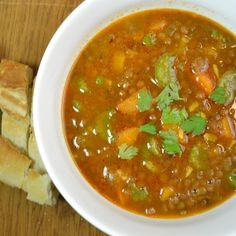 What is for dinner: Lentil soup! My mother makes the best lentil soup, this recipe was inspired by her soup, but this version is faster done. This way you can make a delicious real delicious lentil soup in less then 30 minutes!