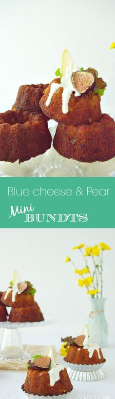 Blue cheese and pear mini bundts, savory and delicious - English recipe included - Mini bundts de queso azul y peras