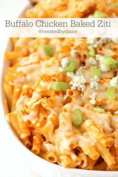 Buffalo Chicken Baked Ziti, this dish is PERFECT for the buffalo chicken lover! find the recipe @createdbydiane
