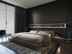 Schlafzimmer Inspiration in grauer Farbe, grauer Teppich mit Ornamenten, ein Regal