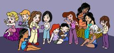 Princess Sleepover: From left to right-Aurora, Cinderella, Pocahontas, Belle, Mulan, Ariel, Snow White, Meg, Esmeralda, Jasmine, Kida, Jane.