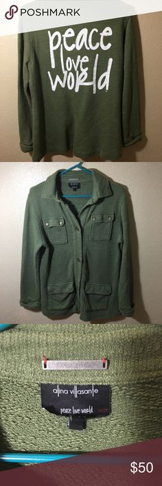 """Peace Love World  Army Green lightweight Jacket S Peace Love World  Size Small Army Green button up lightweight jacket with words  """"Peace Love World"""" on back   EVERYTHING IS ON SALE!   I've done my listing & my sharing now I'm just trying to reaching my selling! In honor of my pursuit for Posh Ambassador-ship I am placing my whole closet on sale while I hit the last few sales to make Posh Ambassador. Thank you so much for your support. Happy Poshing! ❤️ Peace Love World Jackets & Coats…"""