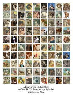 A Dog's World Collage Sheet Scrabble Tile Size by MagpieMine