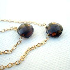 Smoky Topaz Necklaces Smoky Topaz Jewelry by jewelrybycarmal, $85.00