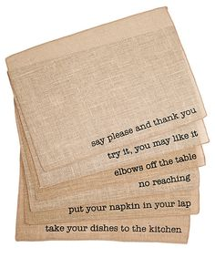 S/6 Assorted Manners Place Mats, Natural | Downstairs | One Kings Lane