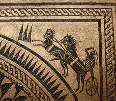 A detail from a floor mosaic depicting a chariot racer, Tarentum, southern Italy, Late century CE. (National Archaeological Museum of Taranto, Italy) Ancient Rome, Ancient Art, Ancient History, History Encyclopedia, Roman Era, Fantasy Castle, Southern Italy, Mosaic Art, Mosaics