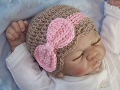 Items similar to Crochet Baby Hat, Newborn Baby Bow Hat, Baby Girl Bow Hat, Infant Bow Hat,Newborn Baby Bow Hat, Taupe, Pink, Gift on Etsy