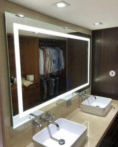 rectangular bathroom mirror lighted backlit for double basin vanity Rectangular Bathroom Mirror, Bathroom Mirror Lights, Led Mirror, Wood Bathroom, Mirror With Lights, Small Bathroom, Master Bathroom, Bathroom Lighting, Mirrors