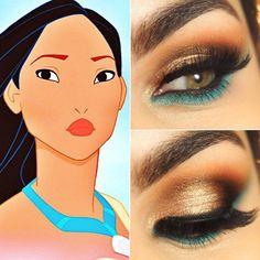 maquillage Halloween inspiré d'une princesse Disney - du fard à paupières bronze et turquoise pour bien imiter princesse Pocahontas