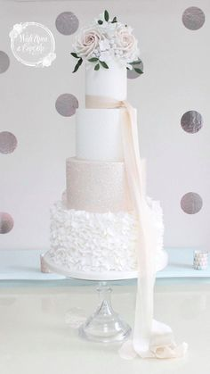 Nude ruffle sparkle cake by wish Upon a Cupcake