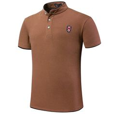 11 Colors Mens Embroidery Solid Color Stand Collar Button Summer Plus Size T-shirt Polo Shirt at Banggood