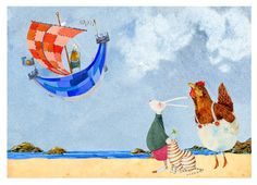 Bunny and friends on beach Giclee A4 print £13.00