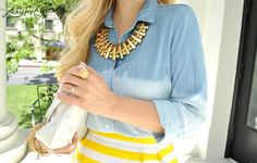 #stripes #chambray #statement #necklace