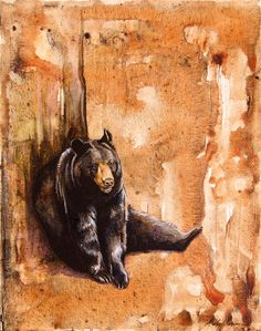 Cute Black Bear Original Watercolor -Style Painting by WildPaintings (Alexa Carson) on Etsy