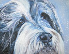 Bearded collie art print CANVAS print of LA Shepard door TheDogLover Old English Sheepdog, Collie Dog, Kinds Of Dogs, Canvas Art Prints, Fine Art Prints, Bearded Collie, Dog Art, Dog Paintings, Original Paintings