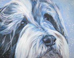 Bearded collie art print CANVAS print of LA Shepard door TheDogLover