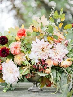 Roses, fall leaves, berries, dahlias