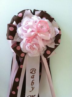 Brown and Pink Baby Shower Corsages by littlecreationz on Etsy, $20.00