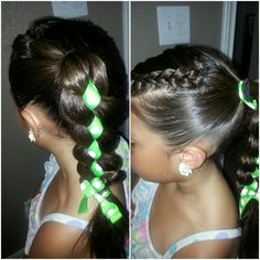 Little girl hairstyle, ribbon through braid ponytail