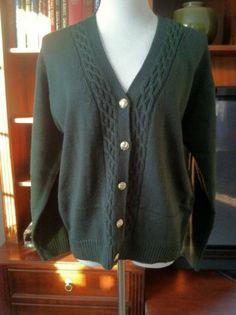 Vintage V Neck Button-Front Cardigan In Hunter Green
