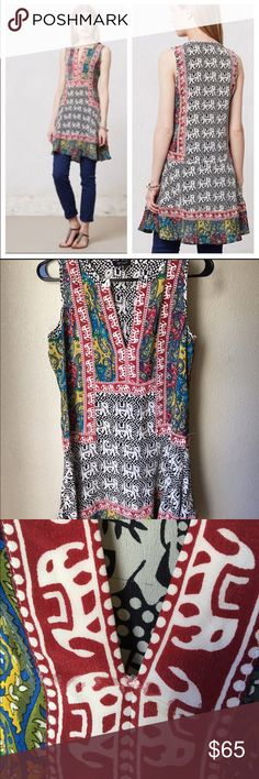 """Anthropologie Tolani Reva Tunic, Small Rare & Gorgeous Reva Tunic by Tolani in size small. Has minor runs but in VGUC/GUC. See pics. Made from 100% silk.   Underarm to underarm is approx 19"""" Waist is free flowing but measures up to 19"""" From front shoulder to hem is 33.5"""" From back to hem is 34.5"""" Anthropologie Dresses Asymmetrical"""