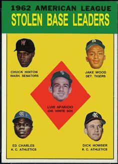 Cards That Never Were: 1963 Topps AL Stolen Base Leaders: Luis Aparicio, Chuck Hinton, Jake Wood, Ed Charles, Dick Howser, Chicago White Sox, Washington Senators, Detroit Tigers, Kansas City Athletics, Baseball Cards That Never Were.