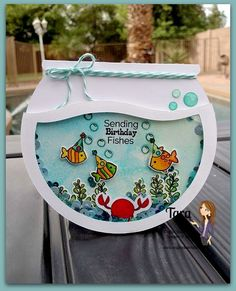 Birthday Card - Essential products for this project can be found on Crafting.co.uk - for all your crafting needs. - birthday fishes shaker card