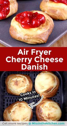 Air Fryer Recipes Dessert, Air Fryer Recipes Easy, Easy Desserts, Delicious Desserts, Yummy Food, Yummy Recipes, Apple Cinnamon Rolls, Cheese Danish