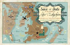 Save the Date Postcard USA, Britain & New Zealand Map by cwdesigns2010 on Etsy $270
