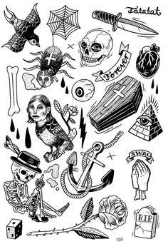 our very first TATATAT set. Classic motives illustrated by Martin Krusche www.de tattoo designs ideas männer männer ideen old school quotes sketches Flash Art Tattoos, Body Art Tattoos, Mini Tattoos, Black Tattoos, Small Tattoos, Cool Tattoos, Tatoos, Tattoo Sketches, Tattoo Drawings