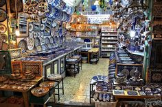 Old City Jerusalem- This store is filled with beautiful Armenian pottery!
