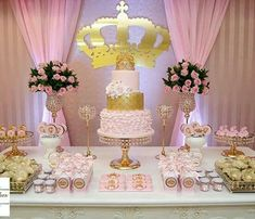 pink and gold party decoration Princess Theme, Baby Shower Princess, Princess Birthday, Baby Birthday, 1st Birthday Parties, Birthday Ideas, Baby Shower Cakes, Baby Shower Parties, Baby Shower Themes