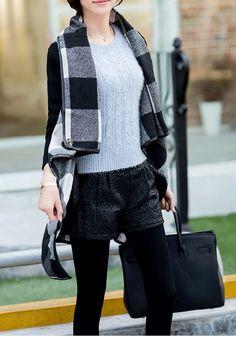 Black Plaid Belt Turndown Collar Fashion Cotton Wool Coat - Outerwears - Tops