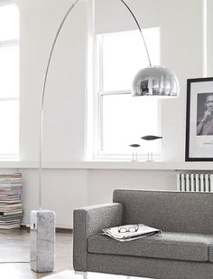 """Arco Floor Lamp. 95"""" tall at highest point. I think that's ok for the family room."""