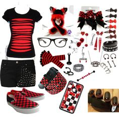This red and black emo outfit is PERFECT for a day at the Cute Emo Outfits, Trendy Outfits For Teens, Scene Outfits, Punk Outfits, Gothic Outfits, Summer Outfits, Girl Outfits, Summer Clothes, Batman Outfits