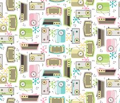 From Spoonflower, retro fabric pattern of radios, so sweet