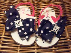 Anchor Navy Polka Dot Girl/Toddler Flip Flop by AvelinCreations, $12.00