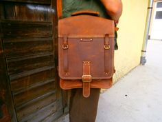 Raw meets perfection: 15 inch Laptop Vertical Briefcase Man Bag Lucky by 74streetbags, $425.00
