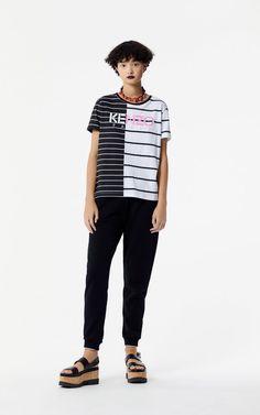 BLACK Stripe KENZO Paris t-shirt for women