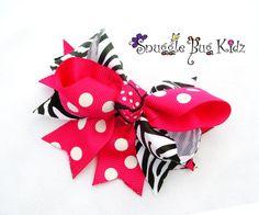 Hot Pink Polka Dot and Zebra Striped Chunky Bow Hair clips by Snuggle Bug Kidz
