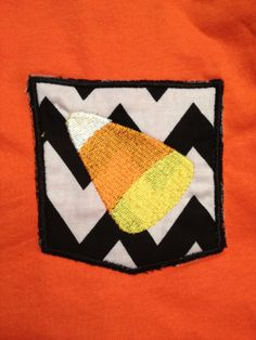 Halloween Candy Corn Pocket Tee Find us on FB  https://www.facebook.com/pages/Gigis-Pick-Stitch-Creations/611663832197866