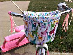 Easier Than I Thought: Trike/Bike Bucket Bicycle Basket, Kids Bicycle, Bike Seat Cover, Craft Stalls, Bike Bag, Kids Bags, Sewing For Kids, Handicraft, Diy Gifts