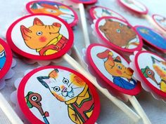 OOAK Richard Scarry Cupcake Toppers  1 by HelloSunshinePaperCo
