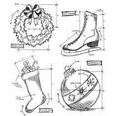 Tim Holtz - Christmas Blueprint 2 Stamp Set