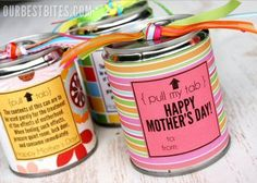Tin can treats Mother's Day Teacher Appreciation Day Father's Day Valentine's Day Holidays Easy Gifts, Creative Gifts, Homemade Gifts, Fun Gifts, Creative Ideas, Mothers Day Crafts, Mother Day Gifts, Envelopes, Cute Crafts