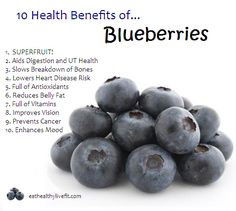 10 Health Benefits of Blueberries. Full of Antioxidents.