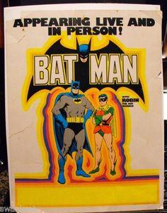 Vintage 1974 Batman in Store Personal Appearance Poster WGSH Mego Figure Tie In | eBay