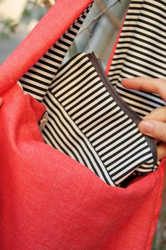 red jean / white blue striped bag. double sided with zipper (detail)